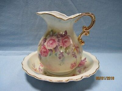 Vintage Lefton China Wash Basin/Bowl  & Pitcher Hand Painted #6628