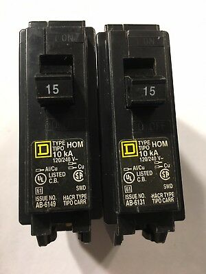 Square D Homeline 15 AMP 1 Pole Single Circuit Breaker, 2 each, made in U.S.A.
