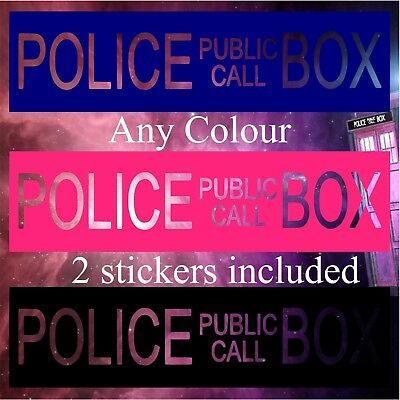 2pc Police Telephone Public Call Box Doctor Who Tardis Sticker Wall Window Car