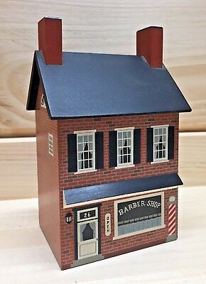 Windfield Designs 2 Story Barber Shop Wooden Bank #161 1990 H Musser GF,NY