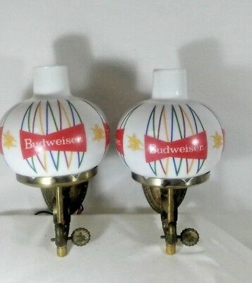 Vtg Budweiser Beer Sign Rare Set Of 2 Light Up Wall Sconces Lamp Signs Busch Bud