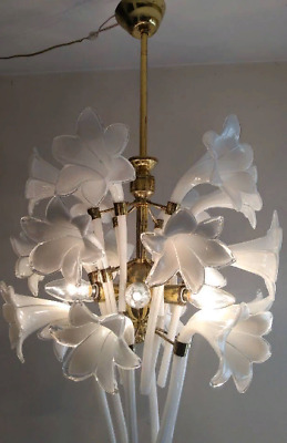 Charmant Murano Hand Blow Glass Calla Lily Vintage Brass Antique Light Chandelier