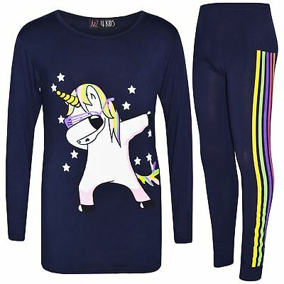 Kids Girls Rainbow Unicorn Dab Floss Navy Top & Legging Xmas Outfit Set 7-13 Yrs