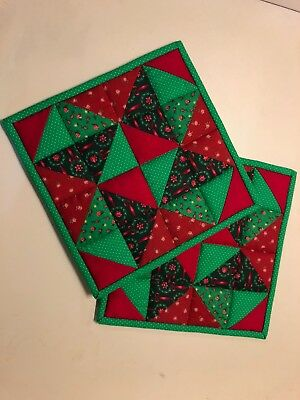 Quilted potholder/ hot pads, Christmas colors
