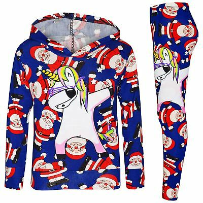 Kids Girls Santa Blue Unicorn Dab Hooded Top Legging Set Xmas Tracksuit 7-13 Yrs