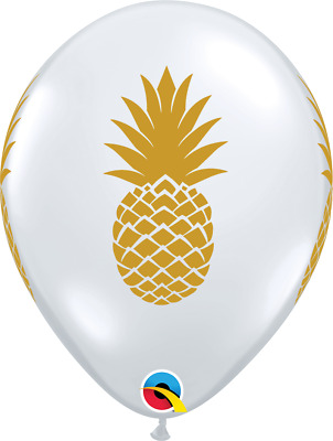 "10 Golden Pineapple Qualatex 11"" Latex Balloons Fun Luau Hawaiian Birthday Party"