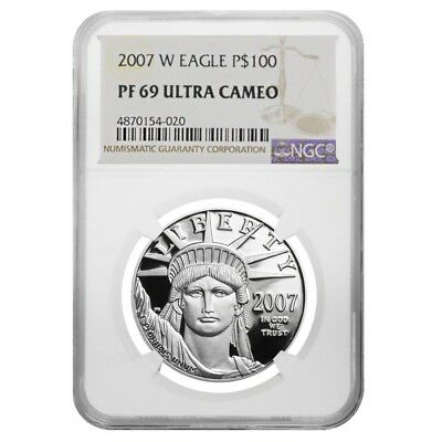2007 W 1 oz $100 Platinum American Eagle Proof Coin NGC PF 69 UCAM