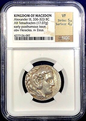 Macedon Alexander the Great silver Tetradrachm early posthumous issue NGC VF 5x4