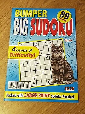 BUMPER SUDOKU - Large Print Sudoku Puzzle Book - 4 Levels Difficulty - Issue 44