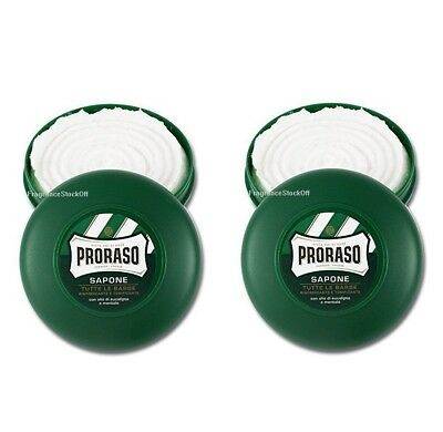 2x Proraso Shaving Shave Soap Eucalyptus Oil & Menthol 2 Bowls 2x75ml from Italy