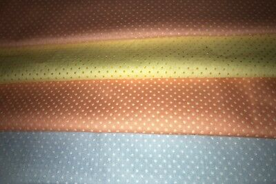 Lot of 3 1/2+ Yards Vintage Dotted Swiss Fabric 4 Pieces Orange Yellow Blue