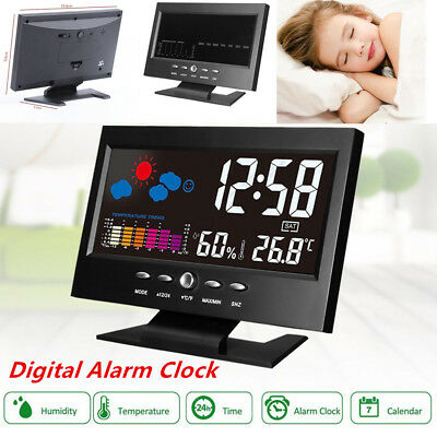 Projection Digital Weather LCD Snooze Alarm Clock Color Display w/Backlight Nice