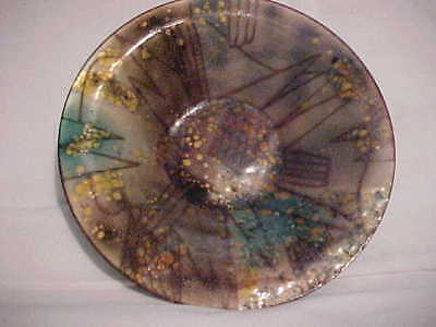 Signed Doris Hall Modern Enamel Copper Bowl Midcentury Abstract Painting Design!