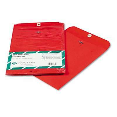 Quality Park Fashion Color Clasp Envelope, 9 x 12, 28lb, Red, 10 085227387349