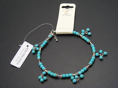 "$18 *W Stones & Beads* Turquoise Beaded Anklet 10 to 11"" Silvertone Accent Beads"