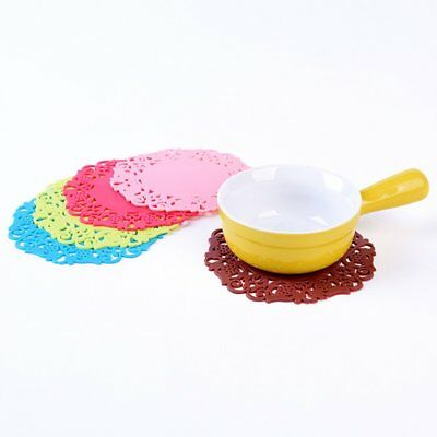 Round Floral Hollow Out Insulated Pad Table Placemat Heat Resistant Non-sl NVT