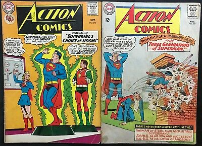 Lot Of 2 Action Comics (Dc,1964/1965) #316 & 327 Silver Age ~