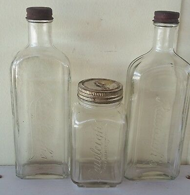 3 Vintage Rawleighs Clear Glass Embossed Medicine Bottles with Lids see note