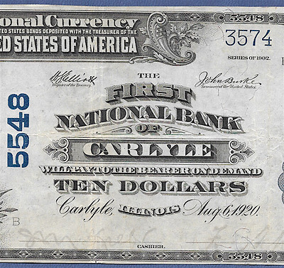 Il 1902 $10    ♚♚ Carlyle,illinois ♚♚   Hard To Find!!!