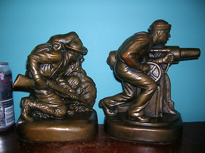 Antique WWI Army Navy soldier sailor military bookends Armor Bronze clad,1920