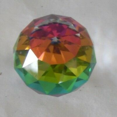 Swarovski Crystal Prism Peacock Colored Round Barrel Paperweight Art Glass