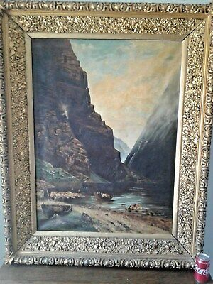 18th CENTURY   MASTERS  EUROPEAN  PAINTING MOUNTIANS COWS BOATS 50 .5 inches