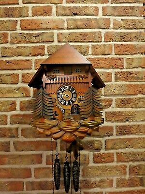 Fully Functional Vintage German Animated Cuckoo Clock with Music box (1966)