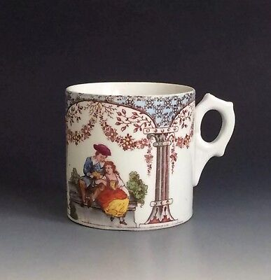 Antique Porcelain Courting Couples Decorated Coffee Can/ Mug 19th Century