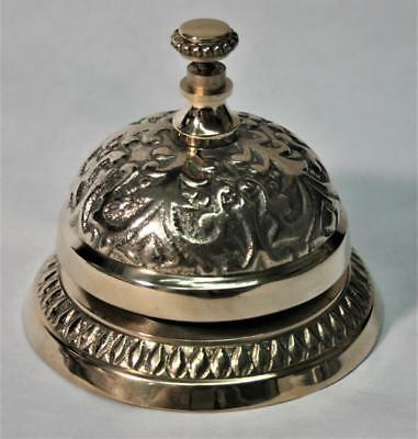 Reproduced - Hotel Counter - Ornate Brass Desk Bell - Ring For Service -  Loud