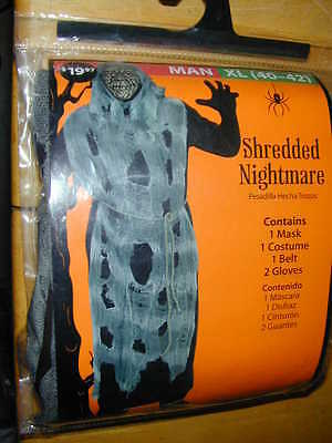 HALLOWEEN COSTUME Shredded Nightmare Zombie Adult XL 40-42 Scary Ghoul Outfit NU