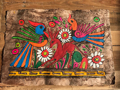 7e68181dcc0b9 VINTAGE MEXICAN AMATE Bark Painting Hand Painted Folk Art Bird Deer Flowers  LOOK