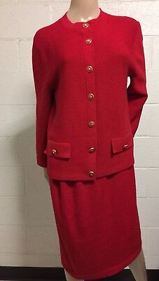 St John Marie Gray 2 Piece Button Up Jacket Skirt Set Suit Red Santana Knit