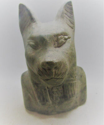 Scarce Ancient Egyptian Hand Carved Stone Bust Of Anubis