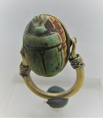 Beautiful Egyptian Gold Gilded Swivel Ring With Faience Scarab Insert