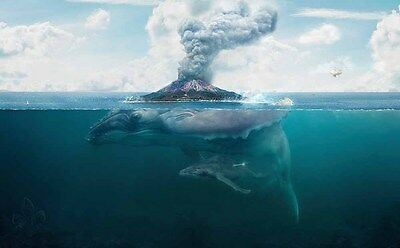Home Art Wall Decor Island Whale Volcano Ocean Oil Painting Printed On Canvas