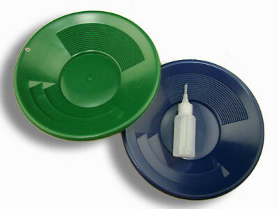 "Lot of 2 - 10"" Blue & Green Gold Pans w/ Bottle Snuffer-Panning Kit-Mining"