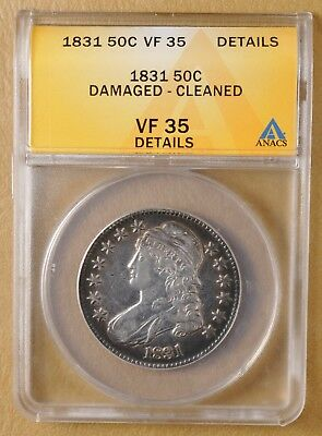 1831 Capped Bust Half Dollar ANACS VF 35 Details
