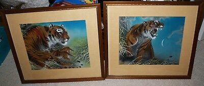 Pair 2 Vintage Chinese ? Japanese Hand Painted Silk Tiger Paintings Signed