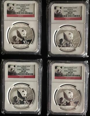 China Panda 10 Yuan 2016 (Silver 4 Coins) NGC MS69 -EARLY RELEASES - 1 oz