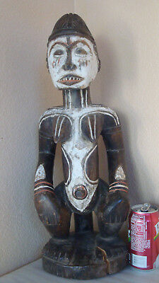 "Vintage Fertility Statue African Carved Wood Igbo Nigeria Woman Figure 21"" Large"