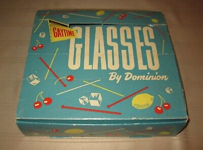 VINTAGE BOXED SET DOMINION GLASSWARE-1960'S 8 Tumblers Glasses FREE SHIPPING