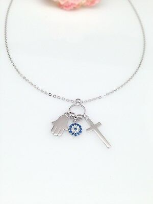 Sterling Silver 925 Hamsa Hand Evil Eye and Cross Charm Pendant Necklace Women's