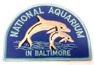 """Vintage! NATIONAL AQUARIUM In BALTIMORE Dolphin Blue 4"""" Iron-On Patch! FREE S/H!"""