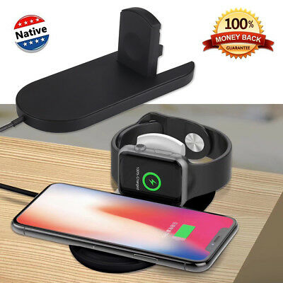 2 in 1 Wireless Charger Fast Charging Cradles Pad Dock for Samsung iPhone iWatch