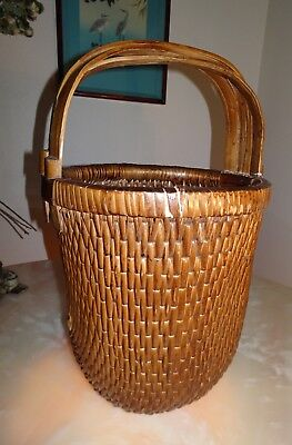 Vintage Chinese Rice Gathering Basket Woven Bentwood Elm Handle X Large
