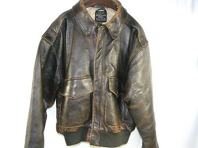 Vintage Bomber Jacket Distressed Leather Type A-2 AVIREX USAAF Men's sz. Small