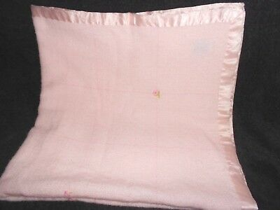 The Three Weavers Baby Blanket Pink Satin Rose Flowers Orlon Acrylic Handwoven