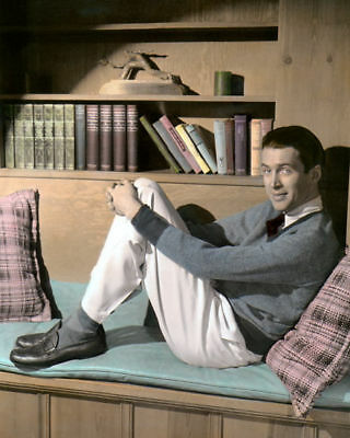 """JAMES """"JIMMY"""" STEWART HOLLYWOOD ACTOR 8x10"""" HAND COLOR TINTED PHOTOGRAPH"""