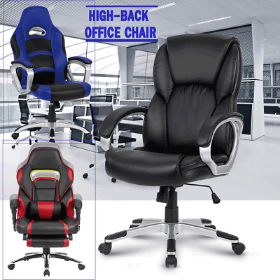 Ergonomic Executive Office Chair Seat Desk Leather Racing Gaming Computer Home +