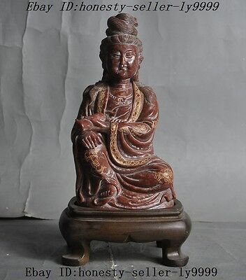 Old Chinese Cinnabar Red Shoushan Stone Carving Statue of Liberty Guanyin Buddha